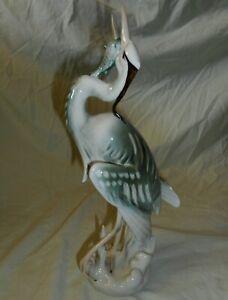Vintage Royal Dux Bohemia Heron with Fish Porcelain Figurine ~ Bird Statue