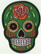 écusson ECUSSON PATCH THERMOCOLLANT GIRL SKULL VERT MEXICAN TATTOO 9 X 6,5 CM