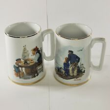 1985 Norman Rockwell Seafarers Collection Porcelain Tankards