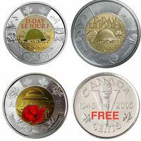 Canada $2 Set, 2018 Armistice, 2019 D-Day, 2 Dollar Coin Tonnie + V Cent. (UNC)