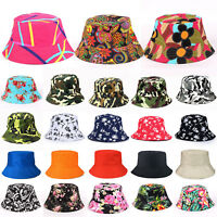 Bucket Hat Boonie Hunting Fishing Outdoor Floral Solid Cap Women Men Summer Hats