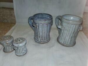 Pandemonium 1981  Ceramic mugs Set of 2 Rustic trash can mugs &  S/P Shakers