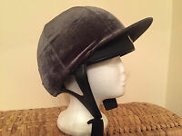 Riding Hat Silk Cover Equestrian Eventing Event Competition Velvet Velour Grey