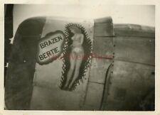 *WWII photo- P 47 Thunderbolt Fighter plane Nose Art - BRAZEN BERTIE*