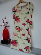 Ladies Lovely H&M Divided Cream Mix Floral Midi Bodycon Dress Size 8, Vgc