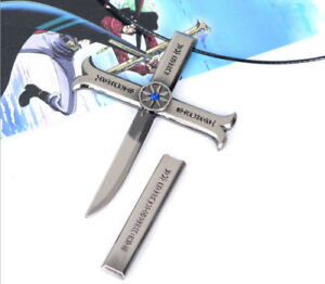 Anime ONE PIECE Dracule Mihawk Cosplay Cross Pendant Necklace Cool Gift