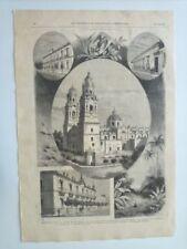 1885 Xilografía: Vistas Medellín Colombia, San Nicolas, Catedral, Casa Emperador