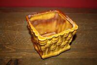 Vintage Ceramic Brown Bamboo Pattern Design Square Planter