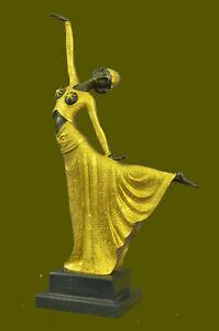 Old Demetre Chiparus Dancer Lady Sculpture Figure Vintage Deco Nouveau Bronze NR