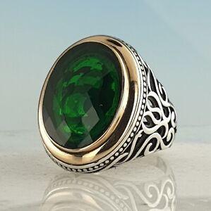 Solid 925 Sterling Silver Ring Green Emerald Gemstone Handmade Ottoman 16.70 GR