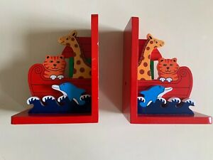 Nursery child's Noah's Ark red wooden bookends