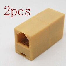 2pcs RJ11 6P4C Single Female to Female f/f Socket Telephone Adapter Connector