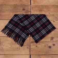 Vintage Mens Womens Burberry 90s Blue Check Tartan Cashmere Wool Scarf R15543