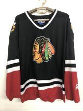 Vintage Starter Jacket CHICAGO BLACKHAWKS Hockey Jersey -  L LARGE RARE