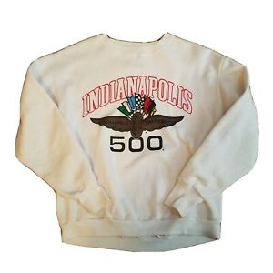 Vtg 80s Indianapolis 500 Sweatshirt Fifty-Fifty Made USA Indy Racing LARGE Bin13