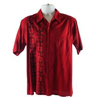 Utopia Men's Hawaiian Style M Shirt Button Down Red With Black Graphics