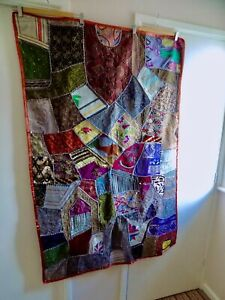 """BEAUTIFUL INDIAN PATCHWORK WALL HANGING~TABLE COVER~ 40 X 60""""~RED EDGE"""