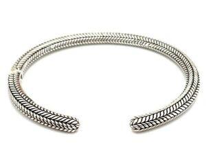 Estate JAI By John Hardy Sterling Silver Carved 5mm Cuff Bracelet