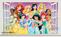 60X100cm Disney Princess 3D Window Wall Decal Removable Sticker Kids Party Decor