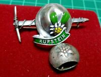KUFSTEIN TYROLEAN VTG LAPEL PIN MOUNTAIN HAT COW BELL ICE AXE PICK SILVER TONE