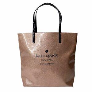 Kate Spade Mavis Taden Street Glitter Logo Rose Gold Dual Handles Large Tote Bag