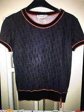 CHRISTIAN DIOR BOUTIQUE Grey Logo Top T-Shirt  UK10  FR 38