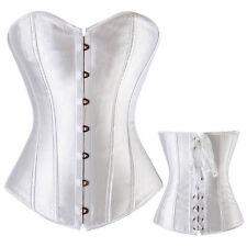 Womens Waist Training Brocade Lace back Corset Satin Bustier Plus Size S-6XL MEM