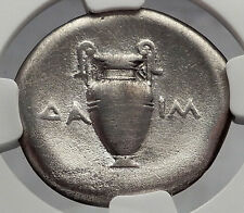 THEBES BOEOTIA 379BC Ancient Silver Greek Stater Coin Shield Amphora NGC i59982