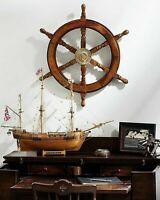 "Vintage Brass Nautical Wooden Marine Ship Wheel Vintage Captain Pirate 18"" Gift"