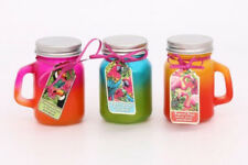 (Set of 3) Tropical themed two-tone Glass Mason Jar Candles - (3 fragrances)