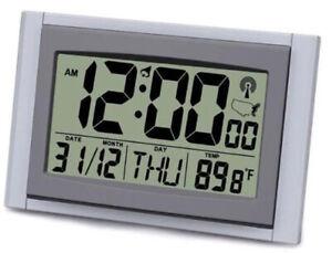 "Exclusive 2"" LCD Digital Atomic Time / Date / Temperature Desk Clock"