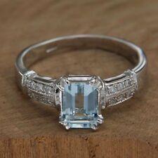 Anillo Artesanal ORO blanco 18 kt. 750 AGUAMARINA y diamantes Piedras Naturales