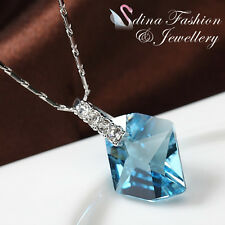18k White Gold Plated Clear Genuine Swarovski Crystals Aquamarine Necklace