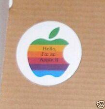 "Hello, I'm an Apple II Apple Logo 3"" Button - NEW"