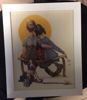 Norman Rockwell Lithograph on Canvas LITTLE SPOONERS - SUNSET