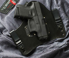 Black Leather Kydex Gun Holster IWB Tuck BLEMISHED DISCOUNTED for Glock 26 27 33