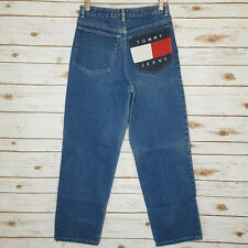 Vtg Tommy Hilfiger Flag Pocket Jeans 18 Boys 28x28.5 High Waisted Spell Out
