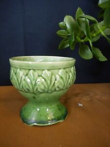 Green Vintage Leaf Design unMarked Art Pottery Planter