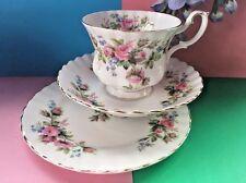 "Vintage Royal Albert Bone China ""Moss Rose"" Tea Set Trio - Teacup,Saucer, Plate"