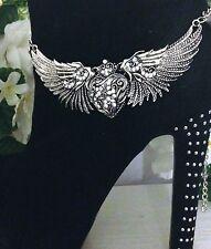 Boot Jewelry Bracelet  Rhinestone Harley Heart Wing Chain