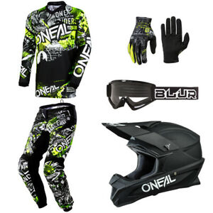 O'Neal Element Attack motocross dirt bike gear Jersey Pants Gloves Helmet bundle