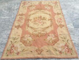 Vintage French Style Handmade Aubusson Area Rug Needle Point Wool Kilim 3x5