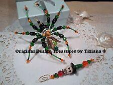 TreasuresbyTiziana® Halloween Happy Wicked Witch Skull Hat Hook Spider Ornament