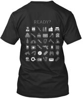 Ready W/icons On Back - Canadian Prepper. Ready? Premium Tee T-Shirt