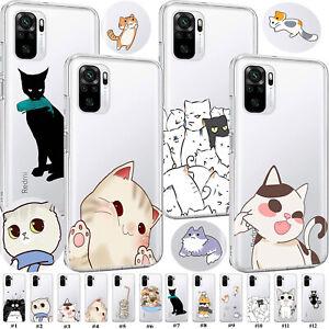 Adorable Cat Transparent TPU Phone Case Cover For Xiaomi Redmi Note 10 9 Pro 10