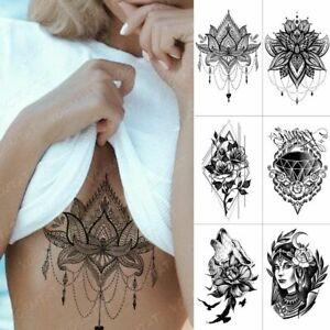 Waterproof Temporary Tattoo Stickers Chest Lace Henna Mandala Flash Fake Tattoos
