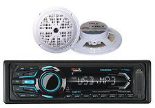 "2 5.25"" White Marine Speakers & Boss AM FM USB Bluetooth AUX Mp3 Marine Radio"