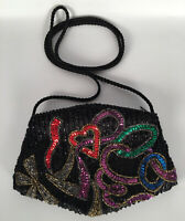 EUC Vintage 1980/90s Beaded and Sequined Small Purse ZIipper Inside Pocket