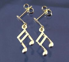 9ct Gold Musical Note Dropper Earrings.
