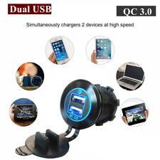 Quick Charge 3.0 Double USB Blue LED Cigarette Lighter Charger Adapter Black